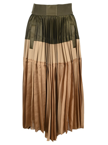 Sacau Colour Block Asymmetric Pleated Skirt