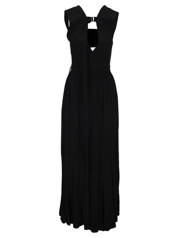 Proenza Schouler D-Ring V-Neck Draped Gown