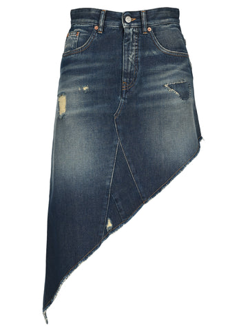 Mm6 Maison Margiela High-Waisted Asymmetric Denim Skirt