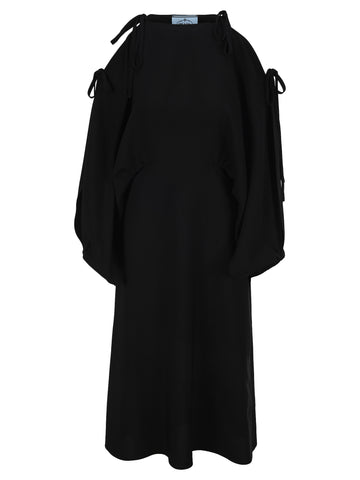 Prada Tie Detail Oversize Sleeves Dress