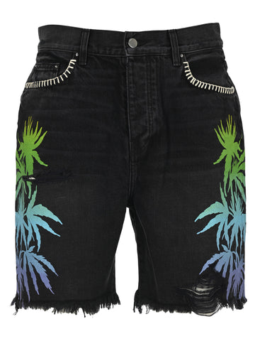Amiri Printed Denim Bermuda Shorts