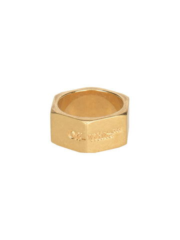 Off-White Engraved Hexnut Ring