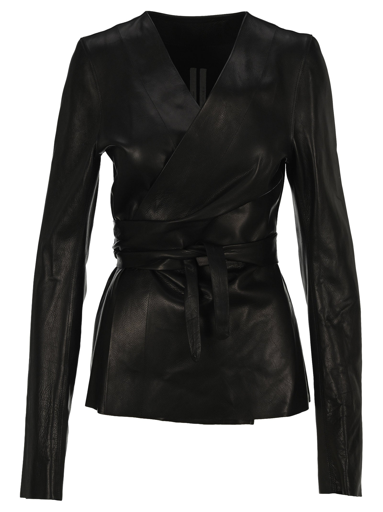 Rick Owens Leather Wrap Jacket In Black