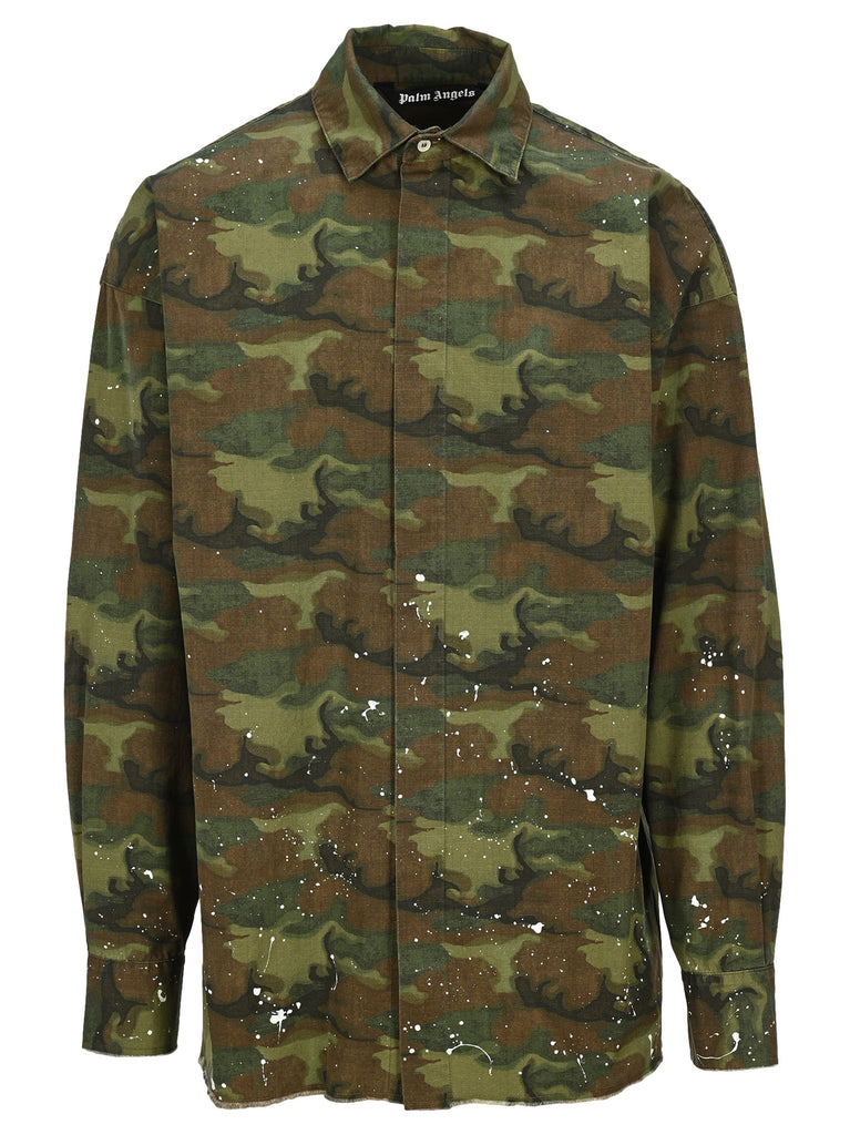 Palm Angels Cottons PALM ANGELS CAMOUFLAGE LOGO PRINT SHIRT