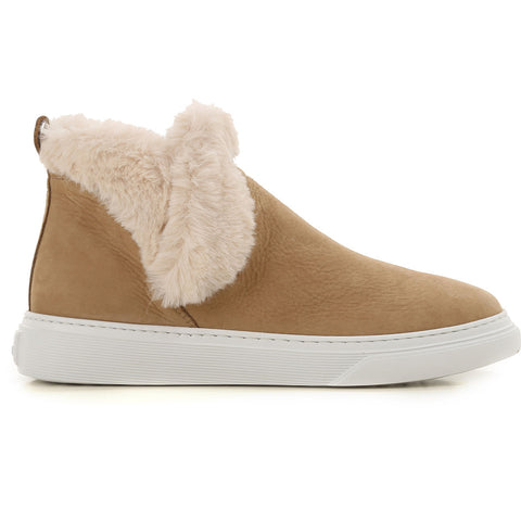 Hogan Fur-Trim Ankle Boots