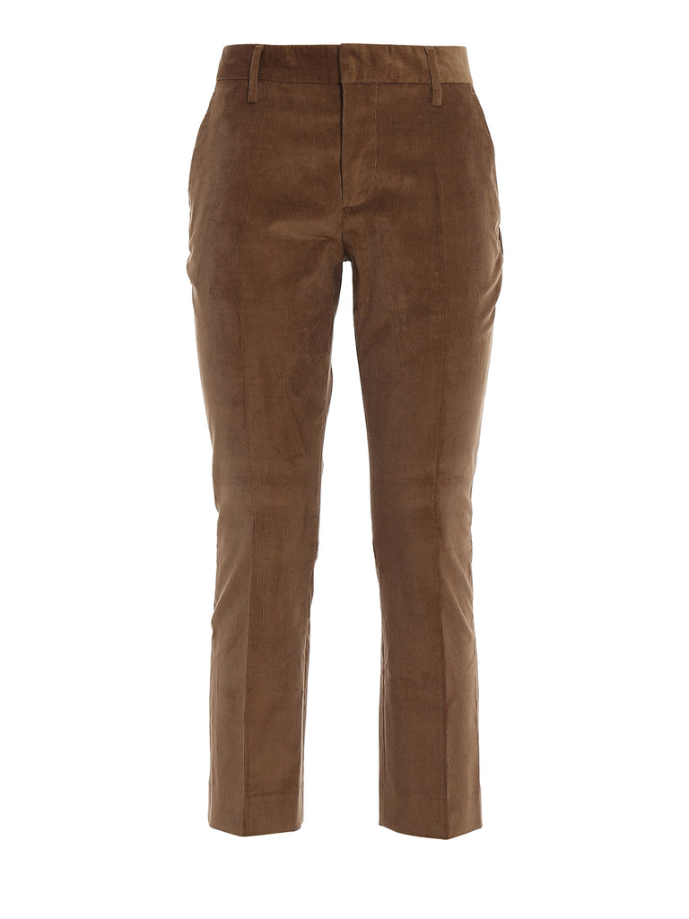 Dsquared2 Corduroy Cropped Pants In Brown