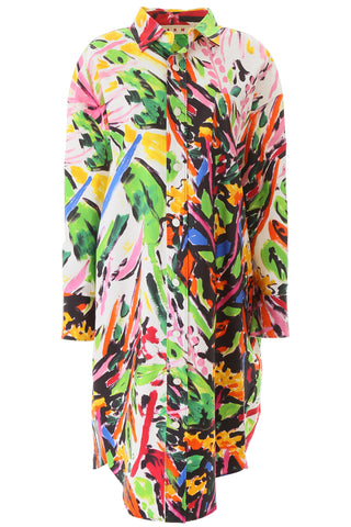 Marni Oversized Floral Print Shirt Dress