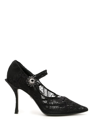 Dolce & Gabbana Mary Jane Stretch Lace Pumps