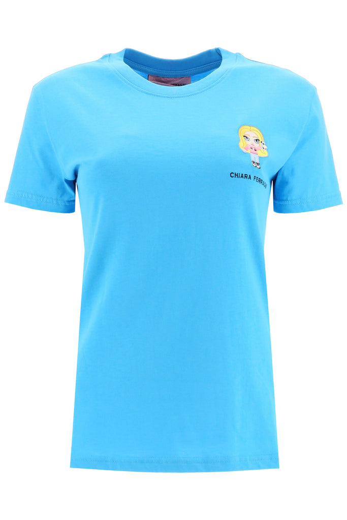 Chiara Ferragni Cotton T-shirt With Cfmascotte Embroidery In Blue