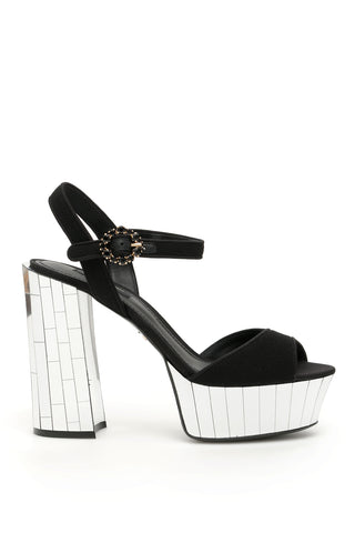 Dolce & Gabbana Bellucci Buckled Mirror Platform Sandals