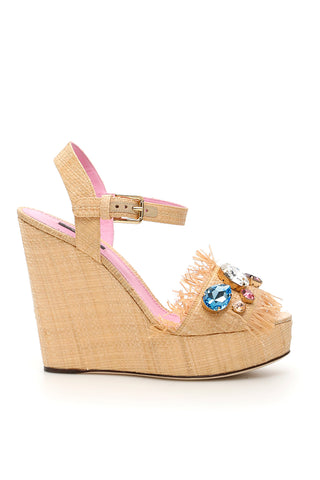Dolce & Gabbana Embroidered Wedge Sandals