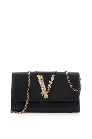 Versace Virtus Embellished Chain Clutch Bag