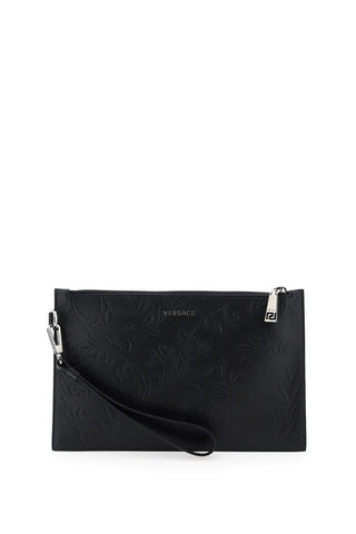 Versace Logo Baroque Embossed Clutch
