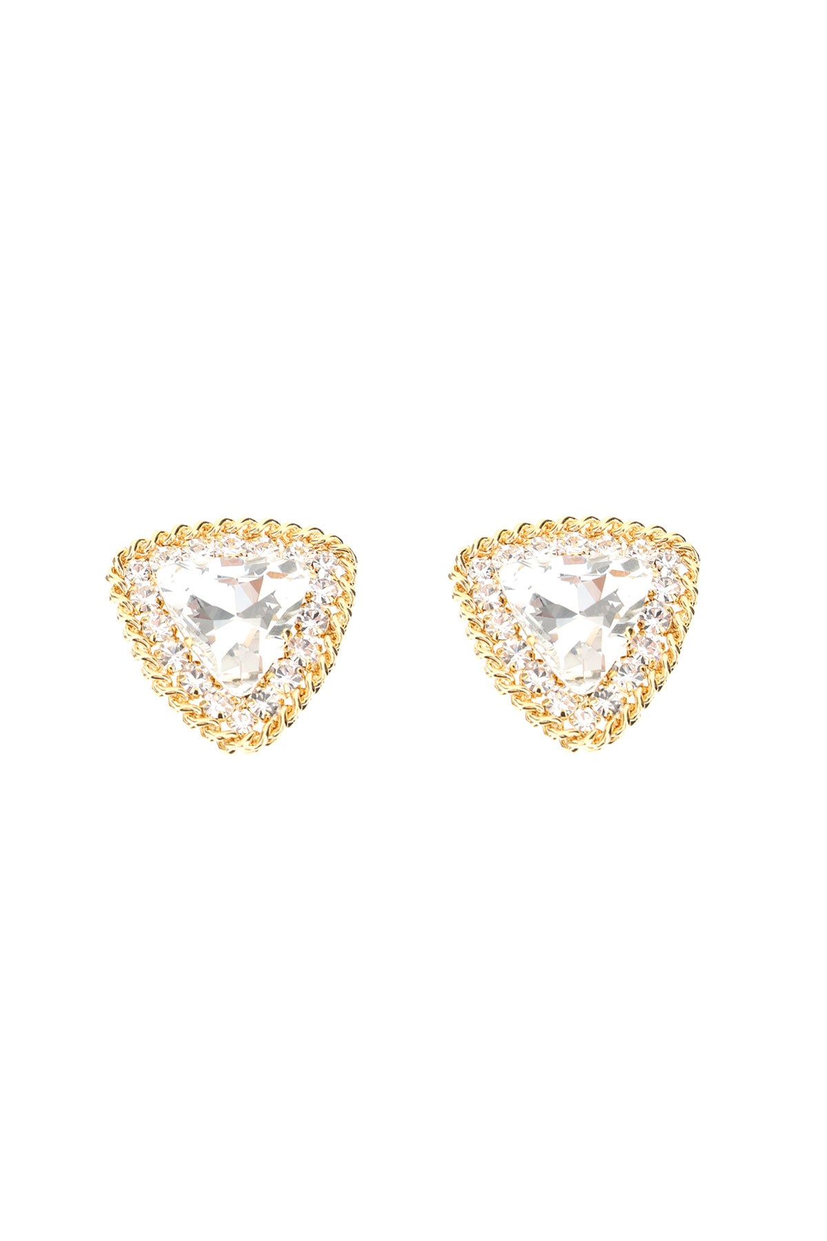 Alessandra Rich ALESSANDRA RICH CRYSTAL TRIANGLE CLIP ON EARRINGS