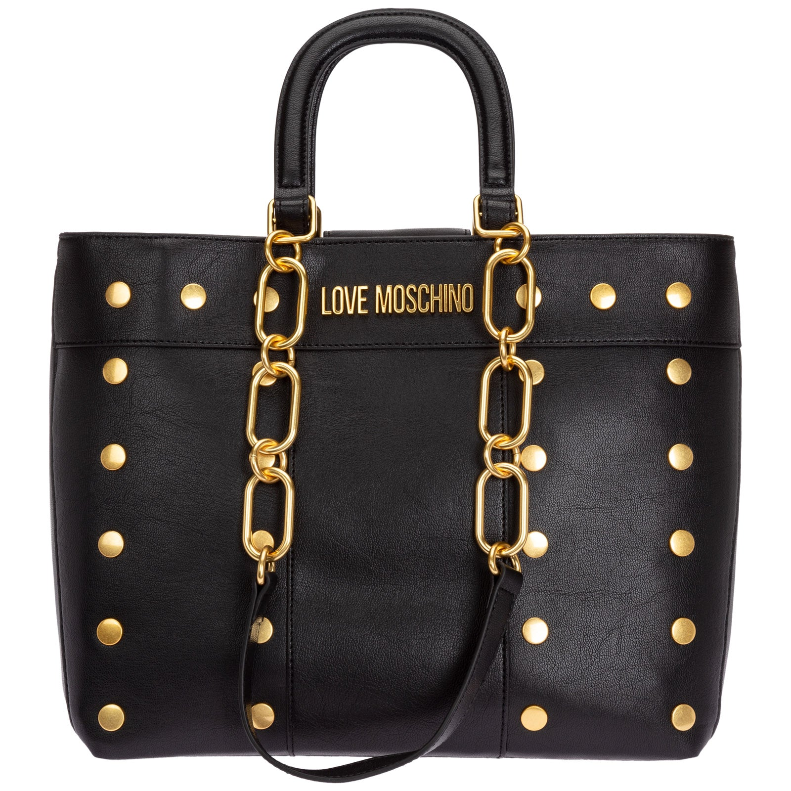 Love Moschino Logo Plaque Studded Tote Bag In Black
