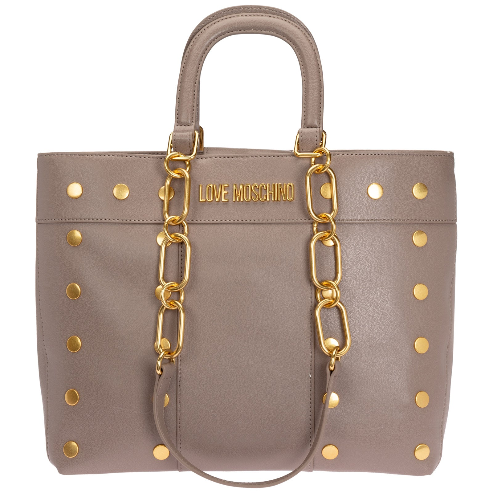 Love Moschino Logo Plaque Studded Tote Bag In Brown