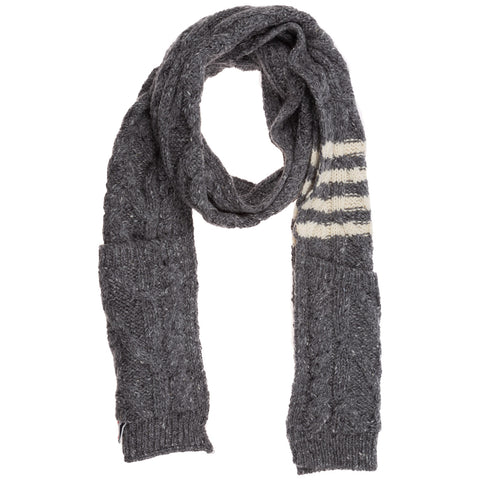 Thom Browne Striped Knitted Scarf