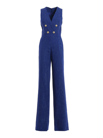 Balmain Double-Breasted Pinstripe Jumpsuit