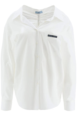 Prada Oversized Drawstring Ruched Shirt
