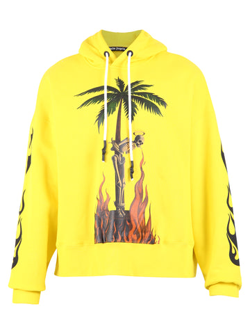 Palm Angels Burning Skeleton Printed Hoodie