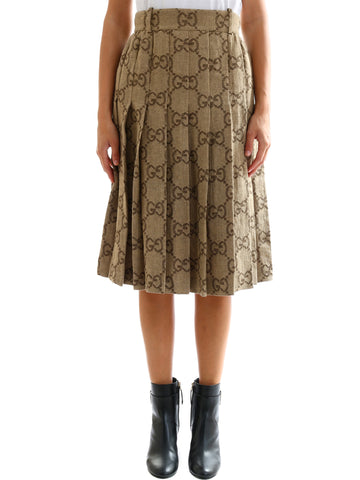 Gucci GG Pleated Midi Skirt