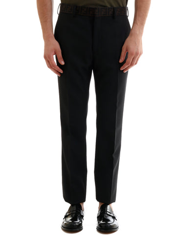 Fendi Logo Tape Waistband Tailored Pants