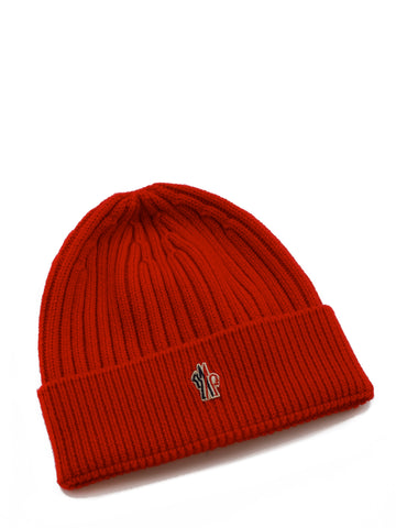Moncler Grenoble Logo Embroidered Ribbed Beanie