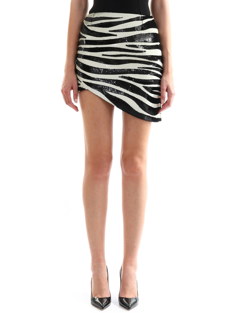Saint Laurent Zebra Print Asymmetrical Skirt