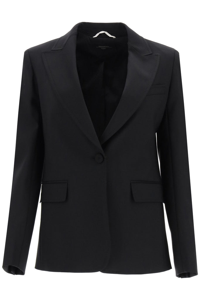 Weekend Max Mara Rieti Wool Gabardine Blazer In Black