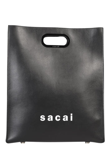 Sacai Logo Print Medium Shopper Tote Bag