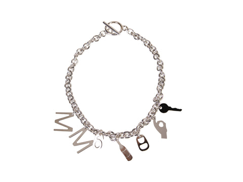 Mm6 Maison Margiela Logo Charms Necklace