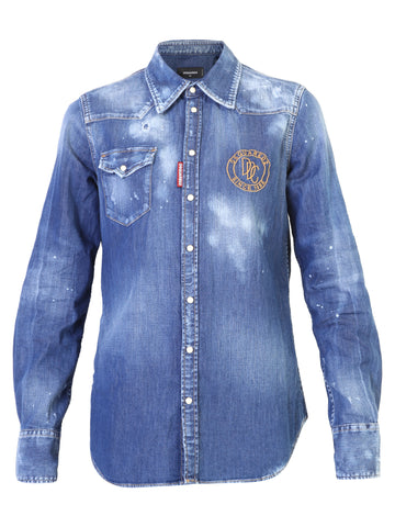 Dsquared2 Embroidered Logo Buttoned Denim Shirt