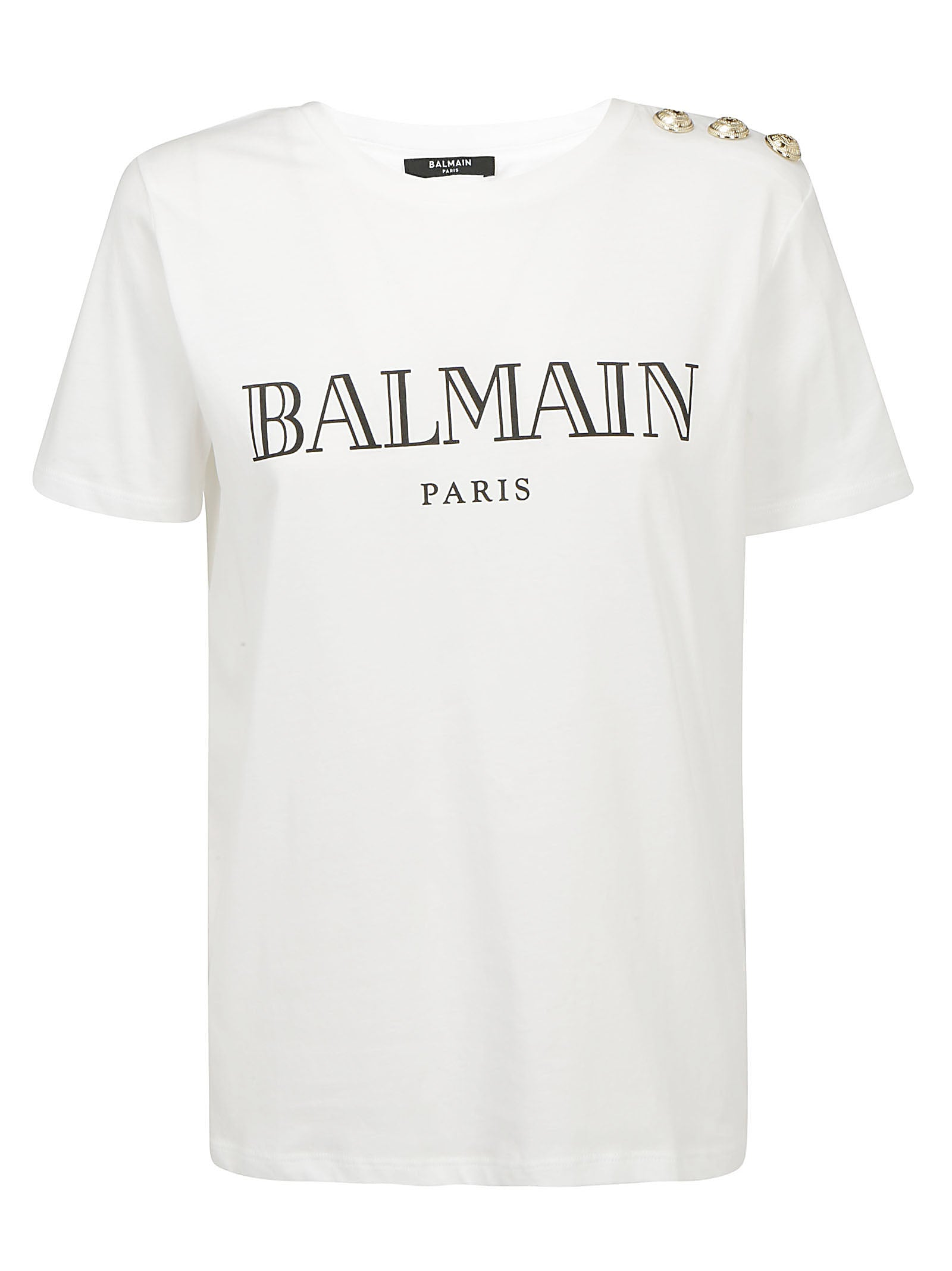Balmain Tops BALMAIN LOGO PRINT BUTTON DETAILED T