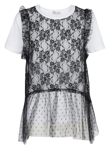 Red Valentino Lace Layered T-Shirt