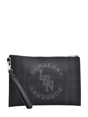 Burberry Logo Graphic London Check Pouch Bag