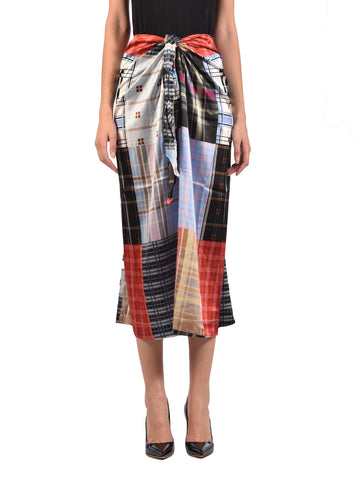 Ganni Checked Print Wrap Skirt
