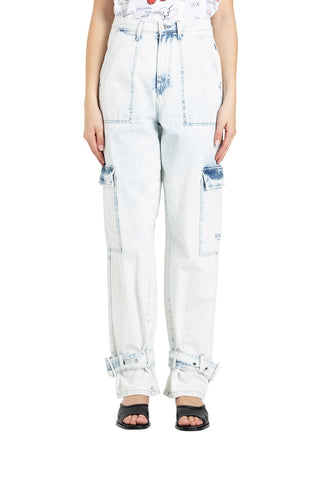 MSGM Acid Wash Strapped Jeans