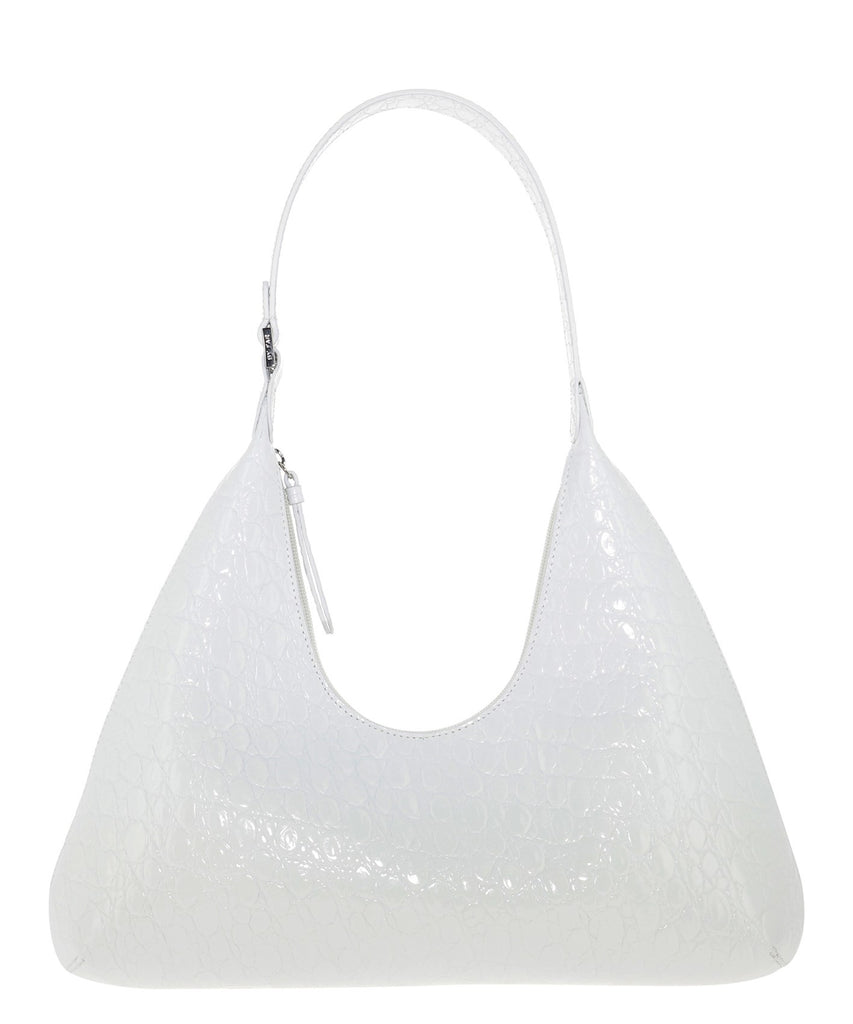 By Far Amber Circular Croco Shoulder Bag In White