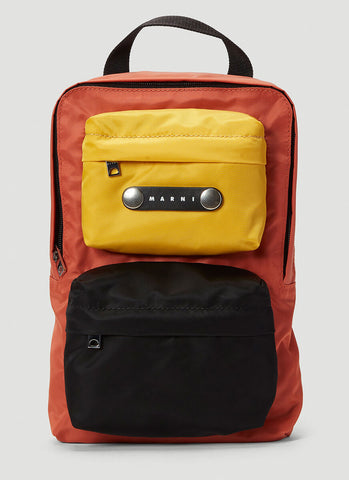 Marni Logo Patch Colour Block Backpack