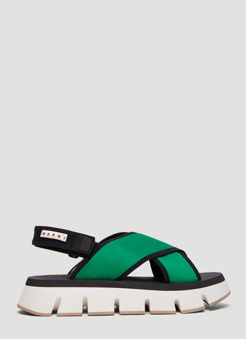 Marni Cross Over Wedged Sandals