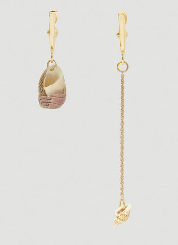 Marine Serre Seashell Charm Asymmetric Earrings