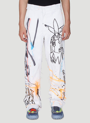 Off-White Wide Leg Printed Pants