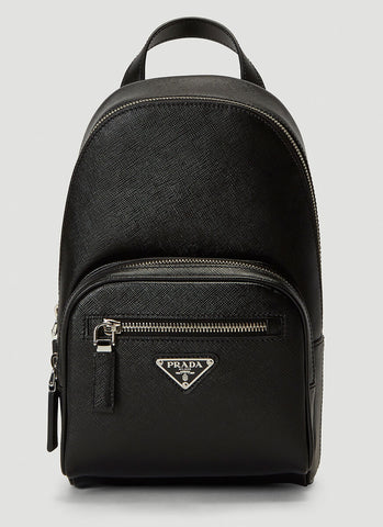 Prada Logo Plaque Zip-Up Backpack