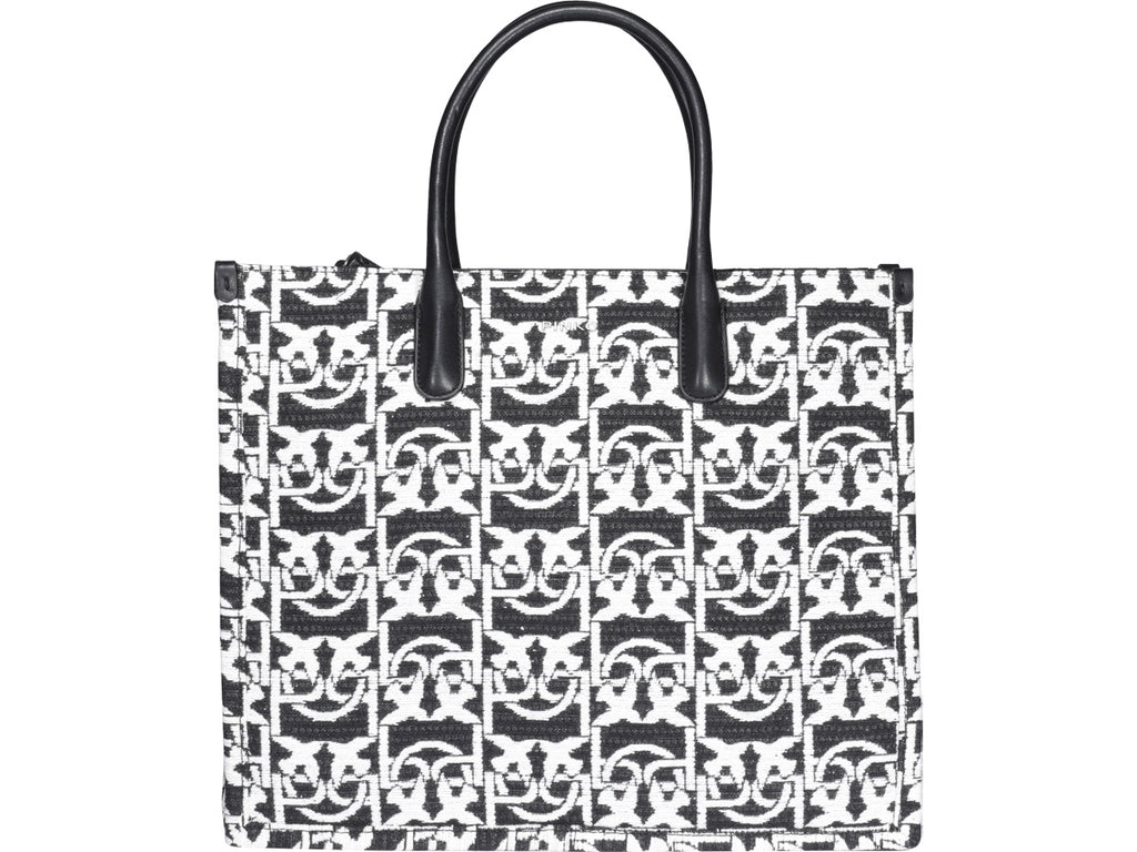 Pinko PINKO LOVE MONOGRAM JACQUARD SHOPPING TOTE BAG