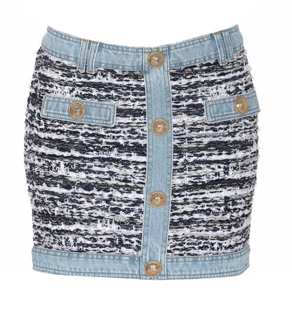 Balmain Tweed Denim Skirt