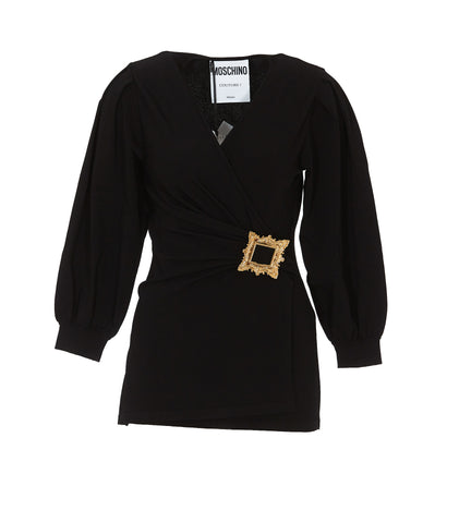 Moschino Buckled Wrap Blouse