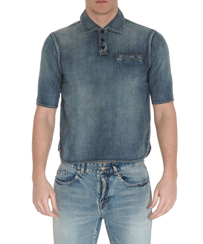 Saint Laurent Denim Polo Shirt