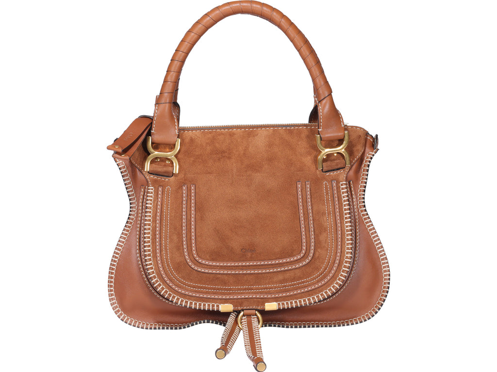 Chloé Marcie Stitching Detail Tote Bag In Brown