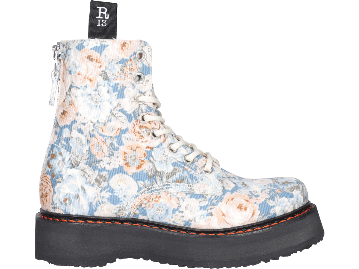 R13 R13 FLORAL PRINT LACE UP BOOTS