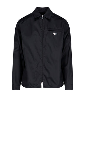 Prada Zipped Logo Shirt Jacket